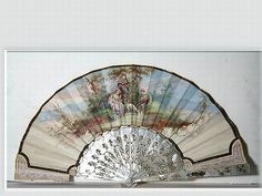 French mother or pearl hand fan painted with a classical scene