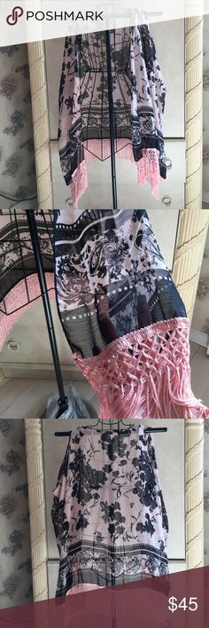 Romeo and Juliet sheer vest NWOT Romeo & Juliet sheer floral fringe vest sie medium new without tags Romeo & Juliet Couture Tops
