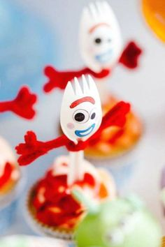 Don't miss the fun Forky cupcakes at this Toy Story birthday party! See more party ideas and share yours at CatchMyParty.com #catchmyparty #partyideas #4favoritepartiesoftheweek #boybirthdayparty #toystoryparty #toystory #boybirthdayparty #forkycupcakes