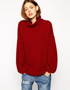 ASOS Jumper With Kimono Sleeve and High Neck