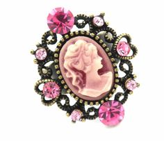 """New Cameo Crystal Ring Size 6-8"""" Ajustable Cocktail Pink Antiqued Gold Tone #Unbranded #CameoStatement"""
