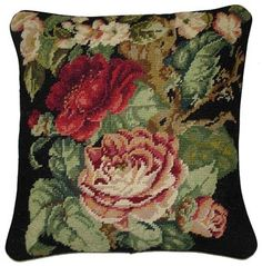 Dark Red Cabbage Roses on Black Needlepoint Pillow