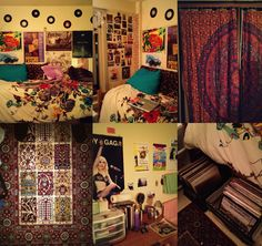 """I'm Kaity and I'm 19 years old. This is my current dorm room at SUNY New Paltz in New York. I wanted my room to just be a collection of things I love. The best parts about my room are that I have my all my LPs here at school, and the fabrics (the curtains my roommate and I made from a tapestry).""—Hotzombies"