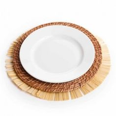 Round Luau Fringe Table Charger Placemats (Set of 12)