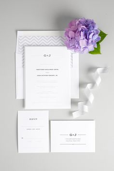 Rustic monogram Wedding Invitations with gray chevron accents