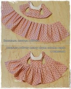 We sew a dress with a collar for a teddy bear – Ya … - Kindermode Sewing Doll Clothes, Sewing Dolls, Doll Clothes Patterns, Barbie Clothes, Clothing Patterns, Diy Clothes, Sewing Patterns, Dress Clothes, Dress Sewing
