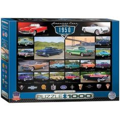 """The 1950's were the years that started the era of powerful American cars. This 1950's Cruisin' Classics 1000-piece jigsaw puzzle by Eurographics reveals some of the most popular models at that time. The finished puzzle has a size of 19.25"""" x 26.5"""".Eurographics puzzles are made according to high standards; 100% recyclable materials, non-toxic and vegetable based inks, 0.07"""" blueboard for exact piece fit without fraying, and certified by the Forest Stewardship Council."""