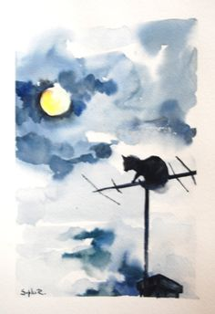 Can Silhouette Original Watercolor Painting Black Cat by CanotStop, $82.00
