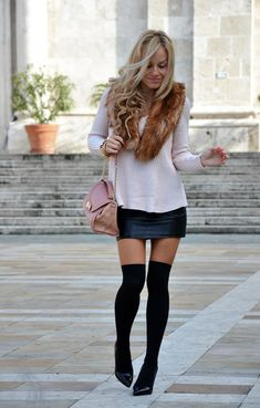 Thigh high socks outfits with thigh high socks Chicisimo Winter Outfits 2014, Fall Outfits, Fashion Outfits, Womens Fashion, High Fashion, Black Knee High Socks, Thigh High Socks, Thigh Highs, Knee Highs