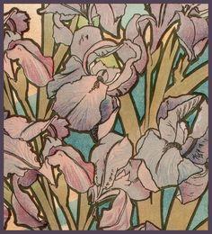 "Alphonse Mucha ""Les Fleurs-The Iris"" 1898 (detail modified) by Plum leaves (moving), via Flickr"