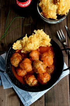 La rana de azúcar: Albóndigas con patatas en tempura
