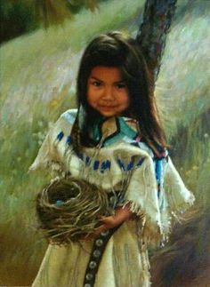 Little Native American Girl with Nest