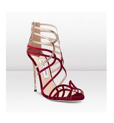 Velvet red and gold Jimmy Choo wedding shoes