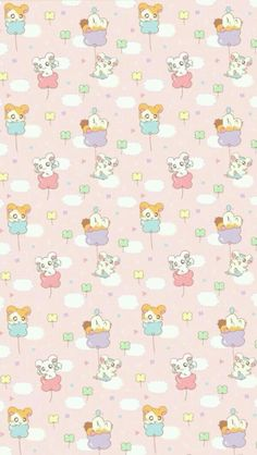 Cute Pastel Wallpaper, Cute Patterns Wallpaper, Kawaii Wallpaper, Animal Wallpaper, Shin Chan Wallpapers, Cute Wallpapers, Wallpaper Backgrounds, Iphone Wallpaper, Cute Kawaii Drawings