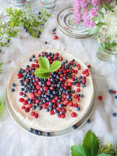 Yogurt cake, which is really made only from greek yogurt and lemon. Topped with fresh berries.