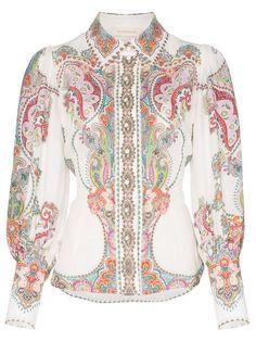 af64c1e7f130 Compre Zimmermann Blusa Ninety-Six com estampa paisley Desenhos Indianos  Impressos, Vestido De Camisa