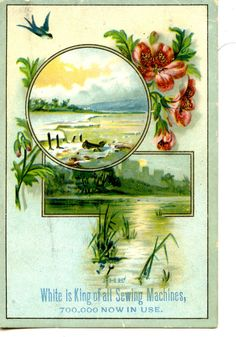 Pretty Beach-Scenic Castle-White Sewing Machine-Vintage Advertising Trade Card #White