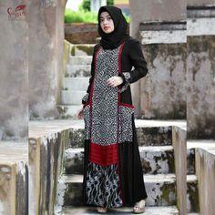 Gamis Batik Fashion, Abaya Fashion, Muslim Fashion, Indian Fashion, Fashion Dresses, Women's Fashion, Model Dress Batik, Batik Dress, Batik Kebaya