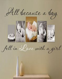 Wall Quote Decal All Bcause a Boy Fell In Love by SignJunkies