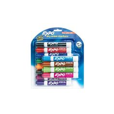 Expo Chisel Tip Dry Erase Markers Set of 12 Colors ($17) ❤ liked on Polyvore featuring home, home decor, office accessories and dry erase