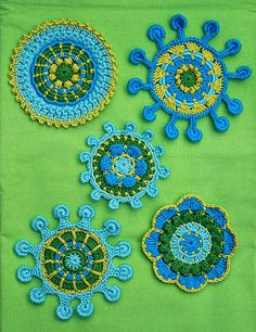 Ravelry: SPOKE & PICOT MOTIFS - crochet pattern, pdf pattern by CAROcreated design - These would make good embelishments on tshirts jackets or trousers.nice colourways too Crochet Motifs, Freeform Crochet, Crochet Art, Crochet Squares, Irish Crochet, Crochet Crafts, Yarn Crafts, Crochet Flowers, Crochet Stitches