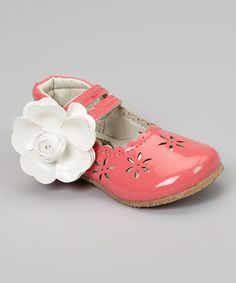 Love this Puddle Jumper Shoes Coral Patent Cutout Flower Mary Jane by Puddle Jumper Shoes on #zulily! #zulilyfinds