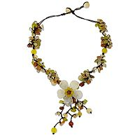 Autumn Bride  Quartz and carnelian flower necklace, 'Dazzling Bloom' by NOVICA
