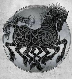 Irlanda, Nação Celta... SLEIPNIR : Na mitologia nórdica, Sleipnir é um cavalo de oito patas. Sleipnir é citado na Edda poética, compilada no século 13, a partir de fontes tradicionais anteriores, e a Edda em prosa, escrita no século 13 por Snorri Sturluson. Em ambas as fontes, Sleipnir é cavalo de Odin, é o filho de Loki e Svadilfari, é descrito como o melhor de todos os cavalos.