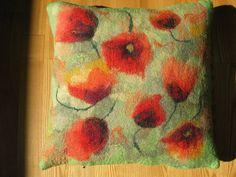 felted poppies on a mottled green ground - great inspiration for my felting machine Felt Cushion, Felt Pillow, Felt Pictures, Nuno Felting, Needle Felting, Handmade Felt, Felt Art, Punch Needle, Felt Flowers
