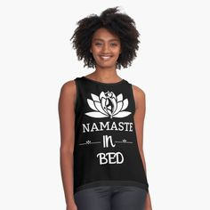 ' Namaste In Bed Fitness Pose & White Lotus - Saying Letter Print' Sleeveless Top by Bed Yoga Poses, White Lotus, Namaste, Chiffon, Artists, Lettering, Group, Tank Tops, Printed