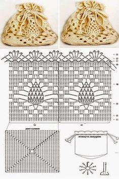 Crochet pineapple bag - crochet in the round joining rows on a square base - Beutel Filet Crochet, Crochet Pouch, Crochet Shell Stitch, Crochet Diy, Crochet Diagram, Crochet Chart, Thread Crochet, Crochet Gifts, Crochet Motif