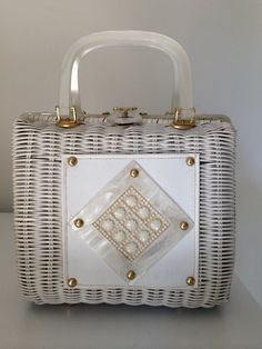 Vintage Wicker Lucite Box Handbag by TwoFireflys on Etsy