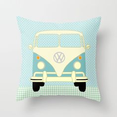 Cute VW Camper  with Polka Dots Throw Pillow