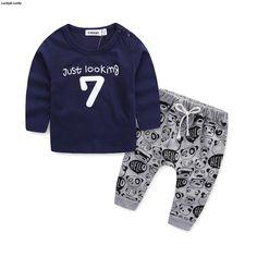 Neugeborene kleidung baby kleidung set langarm brief 7 gedruckt t-shirt baby jungen kleidung für neugeborene