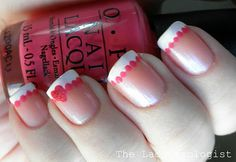 Valentine's French tip manicure