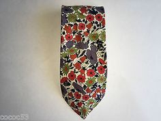 Liberty-of-London-BOLD-Multi-Floral-Bouquet-SUMMER-Tie-100-Cotton-USED