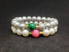 Pulsera de Perlas de agua dulce,Malaquita,Rodocrosita,Plata 925 Oro 21k,joyas de perlas,joyas,perlas,regalo para mujer,regalos de DeMaiCreaciones en Etsy