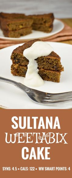 Sultana Weetabix Cake – Slimming World – Weight Watchers Slimming Eats Sultana Weetabix Cake – vegetarian, Slimming World and Weight Watchers friendly Weetabix Cake Slimming World, Slimming World Sweets, Slimming World Puddings, Slimming World Diet, Slimming Eats, Slimming World Recipes, Slimming Word, Low Syn Cakes, Low Fat Cake