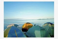 Some folks pitch tents on the deck of the ferry - Alaska Marine Highway System