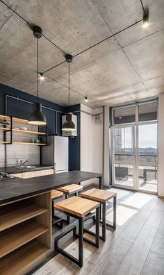 Loft Interior Design, Loft Design, Contemporary Interior Design, Cafe Interior, Küchen Design, Apartment Interior, Apartment Design, Kitchen Interior, House Design