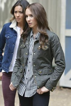 Spencer's gingham button-down shirt and army green jacket are the perfect pair for fall.   - Seventeen.com