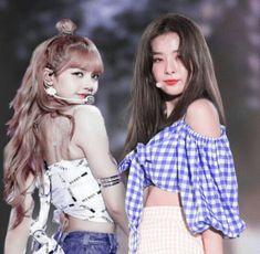 Lalisa and Seulgi Blackpink Twice, Red Velvet Seulgi, Black Velvet, Kpop Girls, Besties, Archive, Ruffle Blouse, Women, Fashion