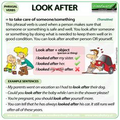 The meaning of the English phrasal verb LOOK AFTER with example sentences. Everyday English, English Time, English Sentences, English Fun, English Idioms, English Phrases, Learn English Words, British English, English Literature