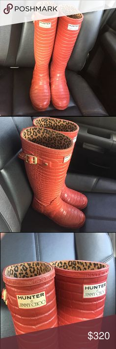 Red HUNTER & JIMMY CHOO rain boots size 6 Red HUNTER & JIMMY CHOO rain boots size 6 Hunter Boots Shoes Winter & Rain Boots