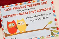 Owl Themed Twins First Birthday Party