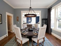 HGTV& Property Brothers Drew and Jonathan Scott buy seemingly hopeless houses and transform them into customized dream homes. Check out the impressive before-and-afters of their latest renovations here. Hgtv Property Brothers, Blue Dining Room Paint, Dining Room Design, Dining Rooms, Design Room, Kitchen Dining, Blue Grey Walls, Gray, House Blinds