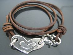 Artisan Brown Leather and Sterling Silver Wrap Bracelet. $42.00, via Etsy.