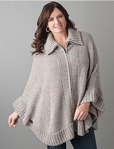 Top off a sophisticated style with the season's must have finishing piece - the poncho!  Cozy zip-front poncho is detailed with a flecked yarn for a hint of seasonal color, ribbed neck and hem, and stylized button closure at each side. Warm & versatile style is just right for the office, weekend, or anywhere your day takes you. lanebryant.com