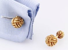 Tiffany & Co. Schlumberger Gold Knot Cufflinks | From a unique collection of vintage cufflinks at https://www.1stdibs.com/jewelry/cufflinks/cufflinks/