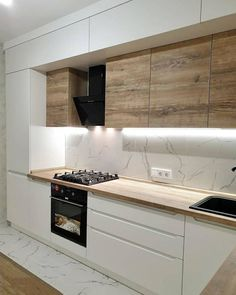 Kitchen Room Design, Kitchen Cabinet Design, Modern Kitchen Design, Home Decor Kitchen, Interior Design Kitchen, Home Kitchens, Kitchen Modular, Modern Kitchen Interiors, Cuisines Design